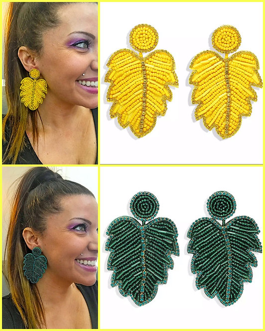 Bead and Rhinestone Leaf Earrings -2073