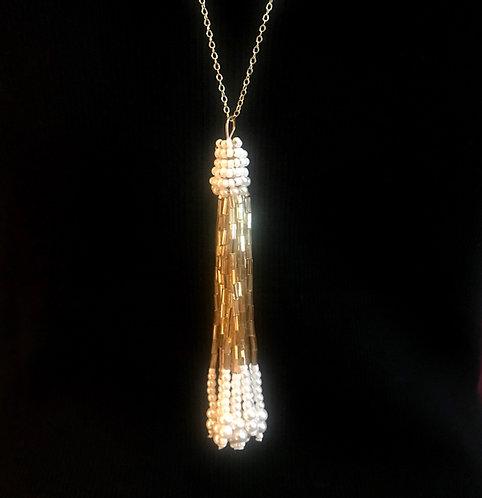 White & Gold Beaded Tassel Necklace -3061