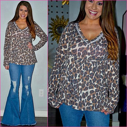 Leopard Babydoll Top -6099