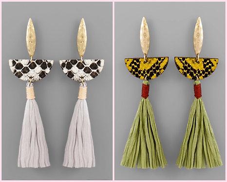 Snake Wedge & Tassel Earrings -2104