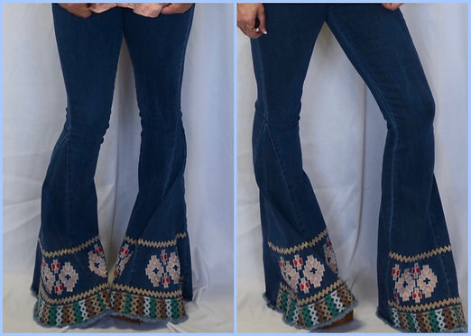 Embroidered Bell Bottom Jeans- 9074