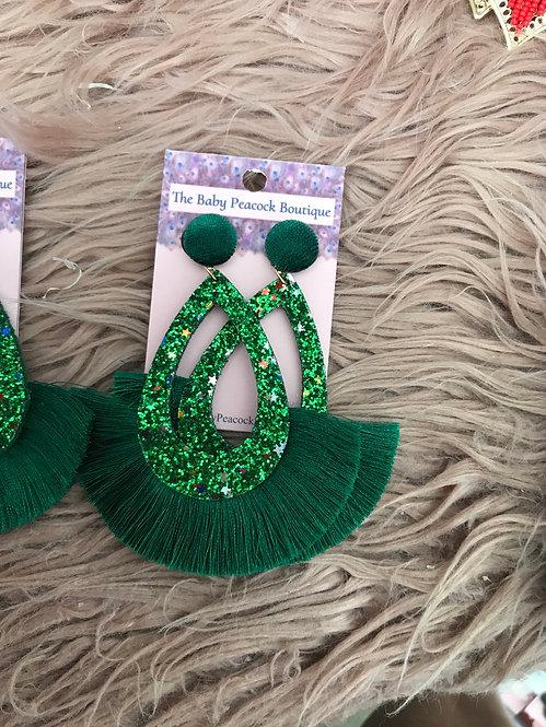 Green Glitter Earrings - 2136
