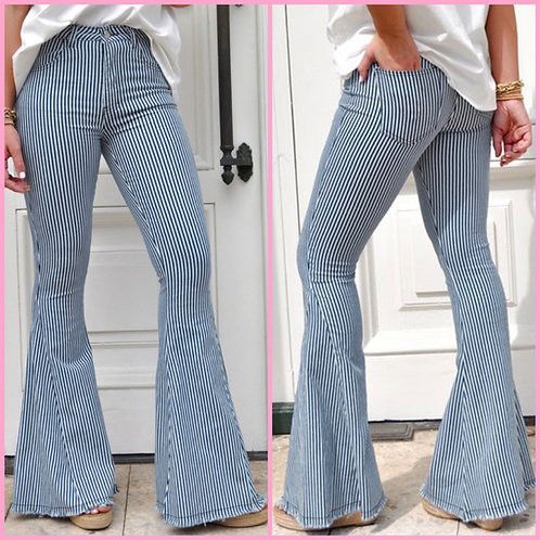 "Pin Stripe Bell Bottom Jeans -32"" Inseam- 9077"