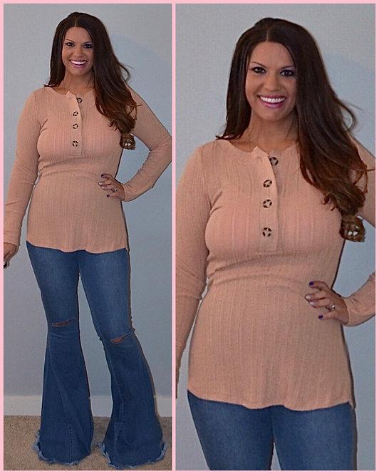 Knit Henley Long Sleeve Top-Blush 6055