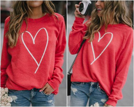 White Heart on Thin Red Sweatshirt- 6112