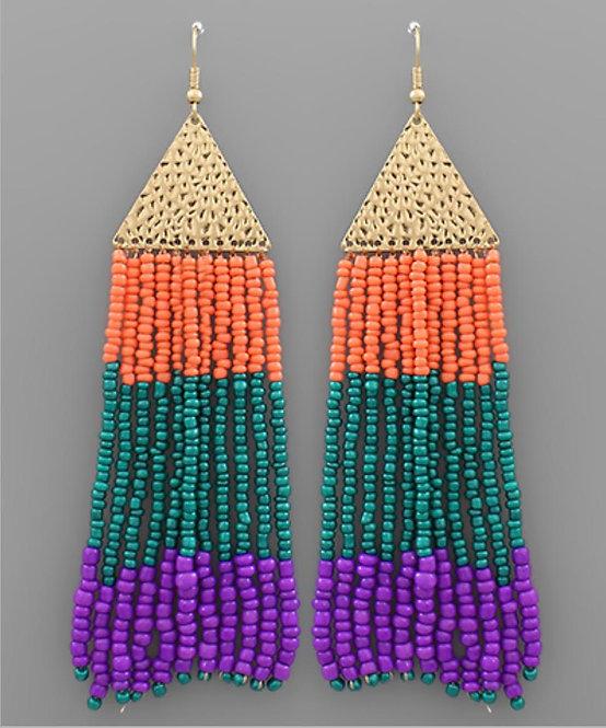 Beaded Fringe on Triangle Earrings-2044