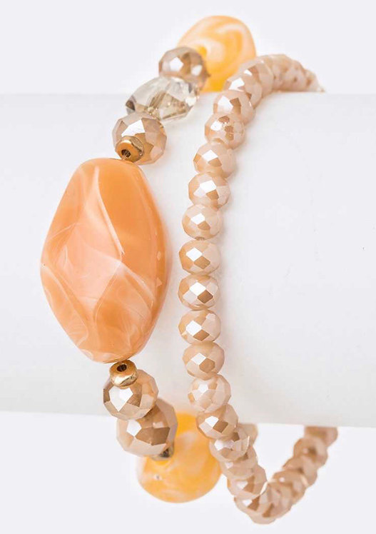 Mix Beads Stretch Bracelet Set- Orange- 4011