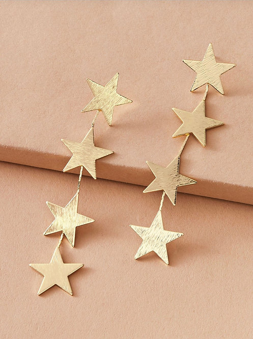 Layered Star Drop Earrings -2091