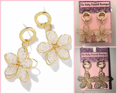 Bead and Gold Flower Earrings - 2079