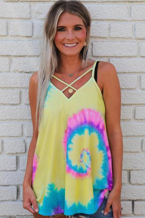 Tie Dye Strappy Crossed Neckline Tank Top 6038