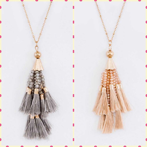 Bead & Fringe Tassel Pendant Necklace- Natural or Gray -3027