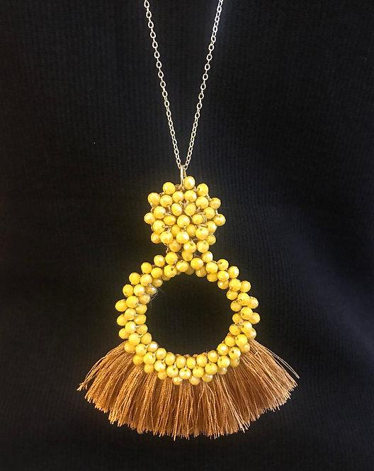 Bead & Tassel Necklace -  Yellow- 3048