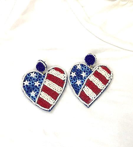 Sequin Heart Flag Earrings -2040