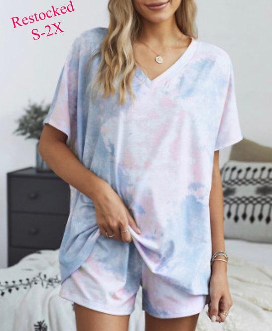 *Restocked* -Tie Dye Lounge Wear Pink/Blue  - 8012