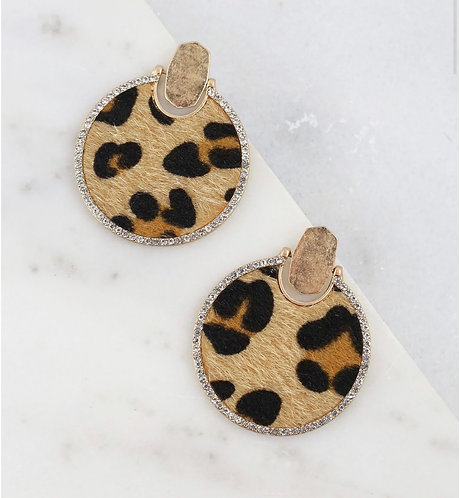 Round CZ Lined Leopard Print Earring-2007