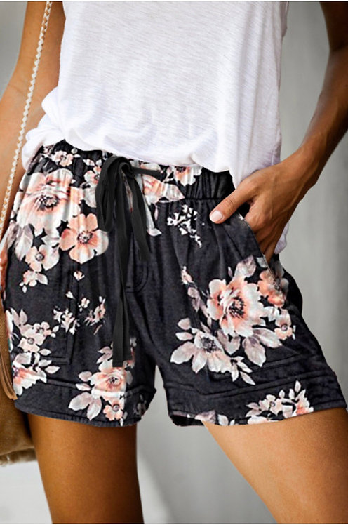 Black Floral Print Drawstring Elastic Waist Pocketed Shorts -9020