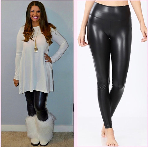 Faux Leather Leggings with Wide Waist Band - 9048