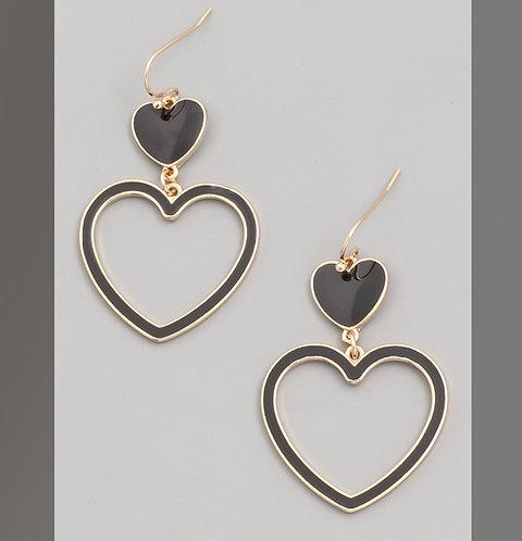 Heart on Heart Dangle Earrings -2083