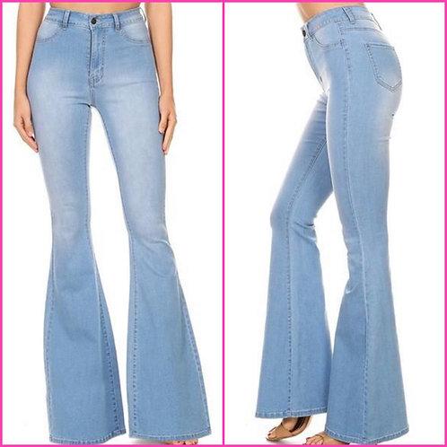 """Light Denim Bell Bottom Jeans - 34"""" Inseam- 9066"""