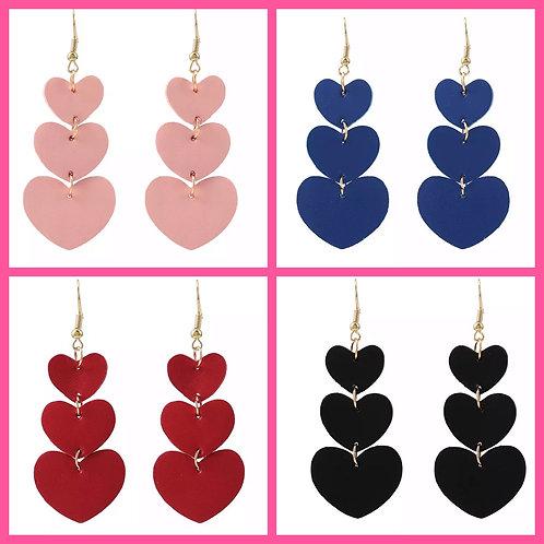Faux Leather Heart Earrings- 2126