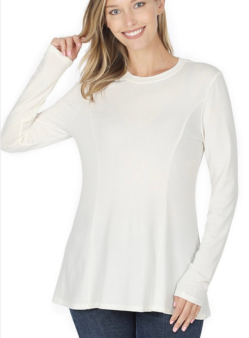 Long Sleeve Jersey Knit A-Line Top- White     -6109