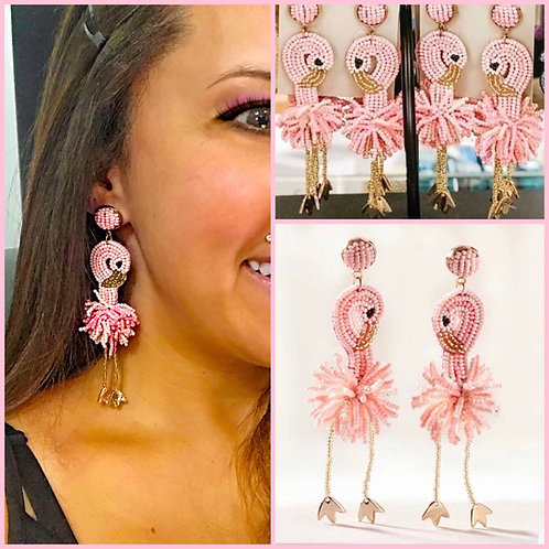 Light Pink Flamingo Earrings -2074