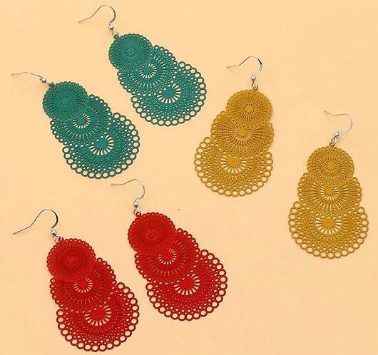 Filigree Earrings- Red, Mustard or Jade - 2113