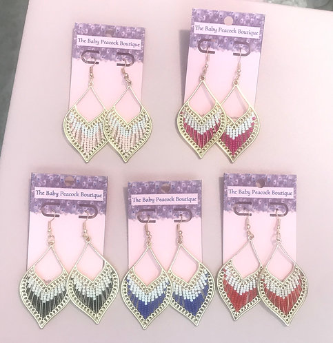 Seed Bead Boho Earrings- 2127