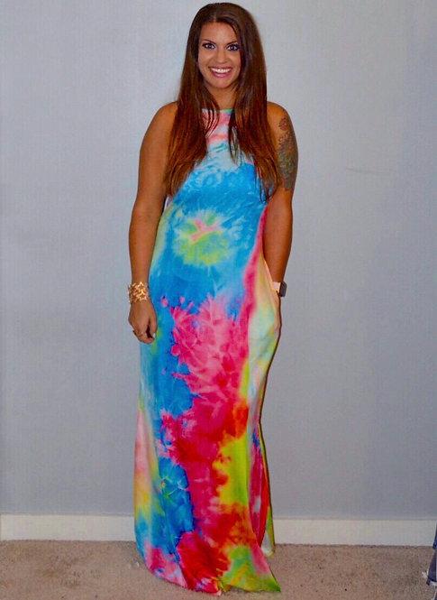 Tie Dye Maxi Dress-  7014