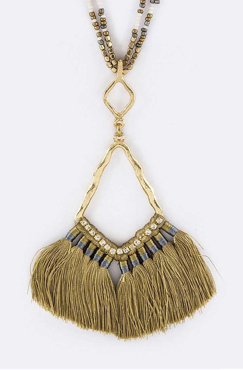 Iconic Tassel Fan Pendant & Layer Beads Necklace Olive - 3041