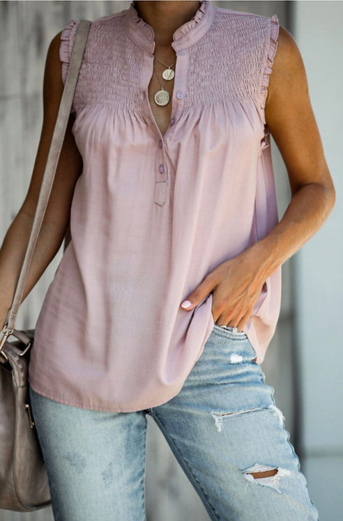 Lilac Tank Top with Buttons 6034
