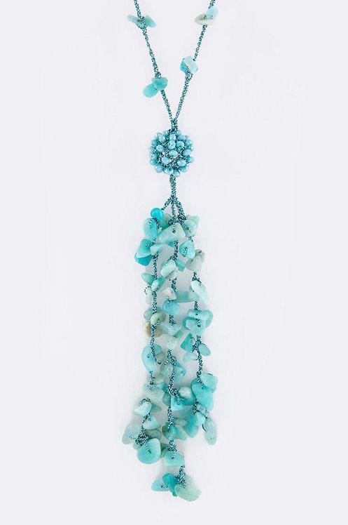 Bead & Stone Tassel Necklace - Turquoise- 3035