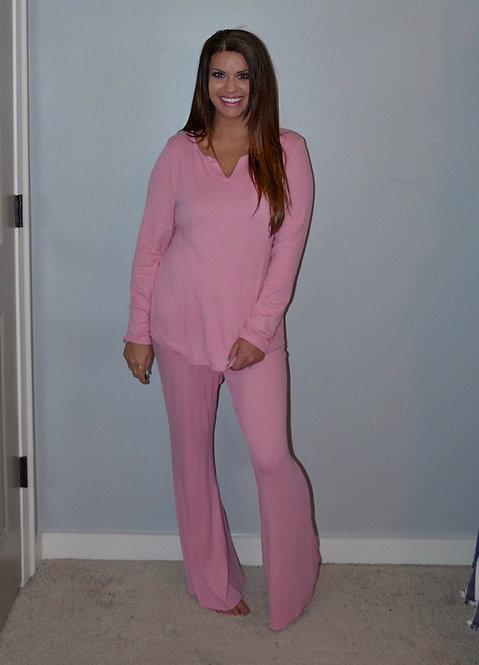 Pink Cotton Modal Shirt and Pants Loungewear - 8006