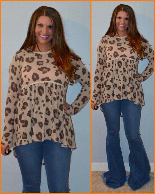 Leopard Babydoll Long Sleeve Babydoll Top 6059