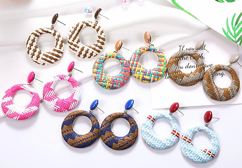 Plaid Circle Earrings -2120