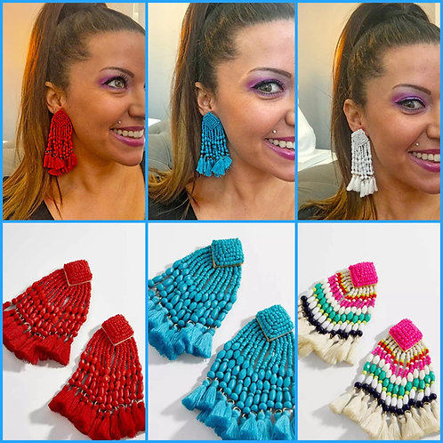 Beaded Tassel Earrings -2072