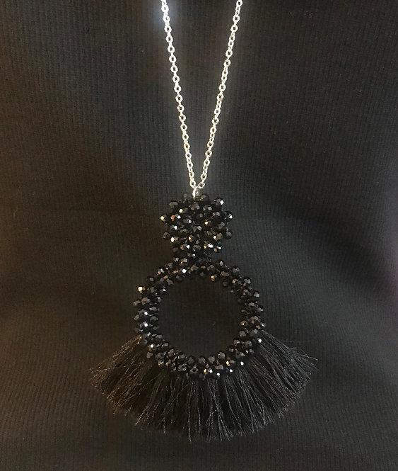 Bead & Tassel Necklace -  Black- 3049