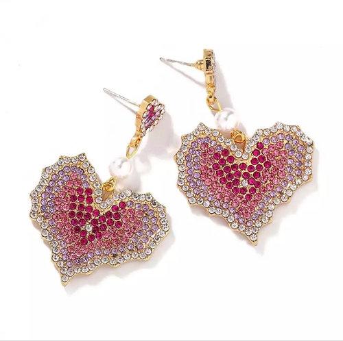 Rhinestone & Pearl Earrings -2081