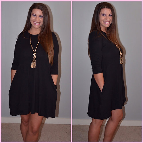 Fall Dress with Pockets - Black -7015