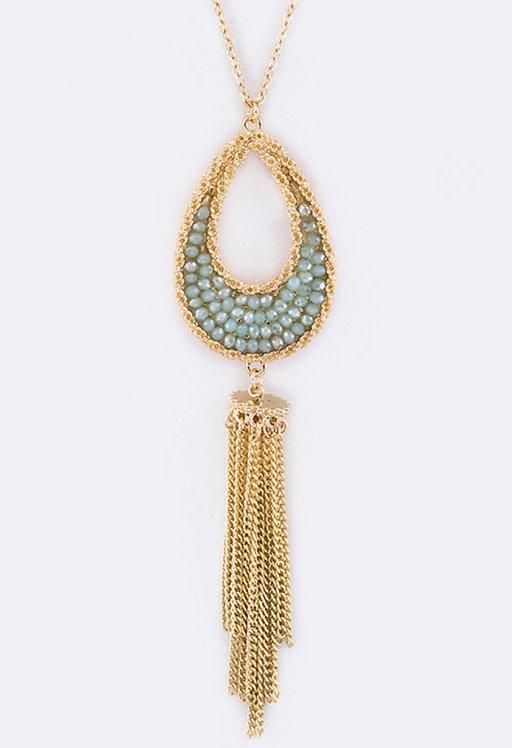 Druzy Teardrop & Tassel Pendant Necklace - Mint- 3042