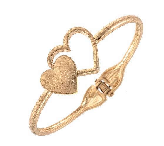 Double Heart Bangle Bracelet -4006
