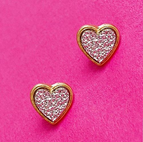 Druzy Stone Heart Earrings -2002