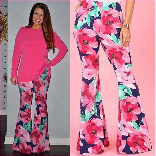 "Pink & Navy Floral Bell Bottoms- 33"" Inseam-9055"