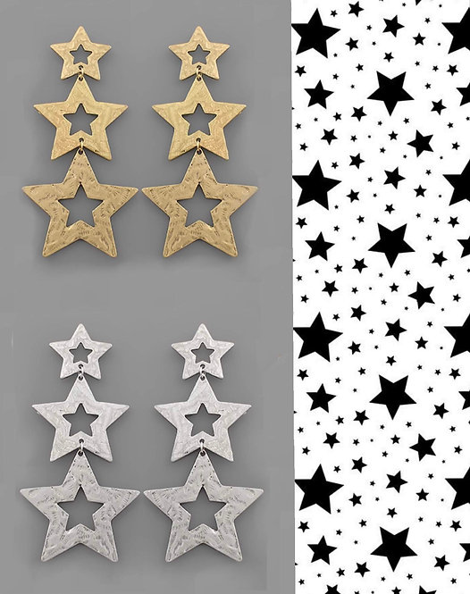 Hammered 3 Stars Earrings- Gold or Silver -2053