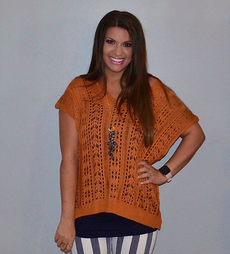 Lace-Up Back Sweater- Rust 6054