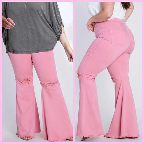 Pink Bell Bottom Jeans- Plus - 9043