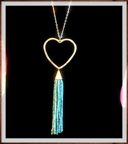Heart & Tassel Necklace -Turquoise- 3063