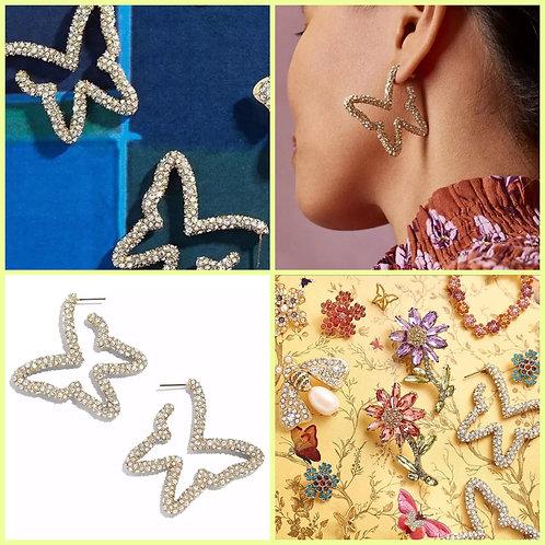 Encrusted Butterfly Hoop Earrings -2100