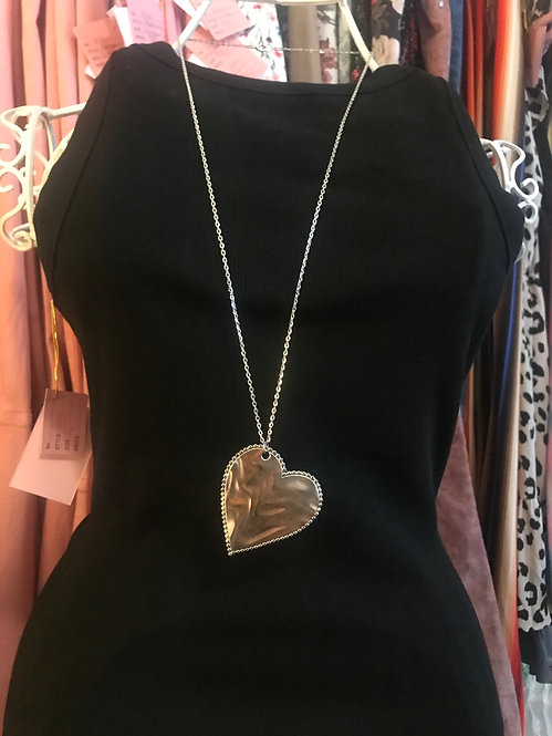 XLarge Silver Heart Necklace- 3066