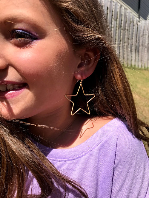 Gold Star Drop Earrings -2033